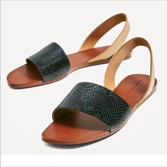 Zara Snakeskin Embossed Leather Slingback Sandals